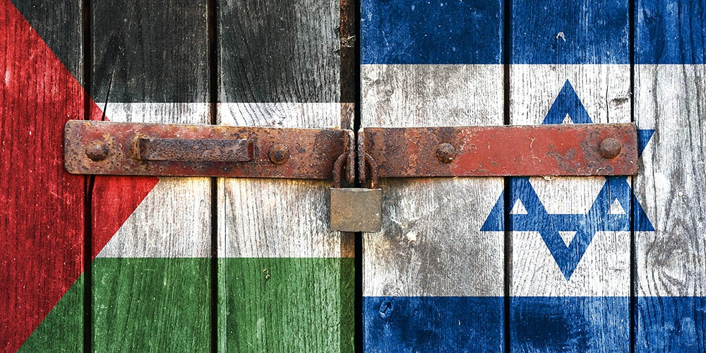 Palestine Israel Gate Flags